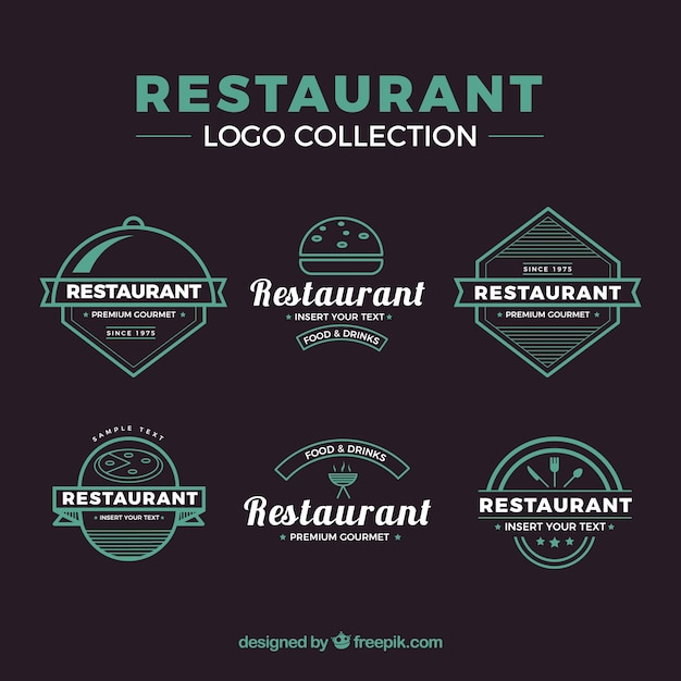 Colorful pack of vintage restaurant logos