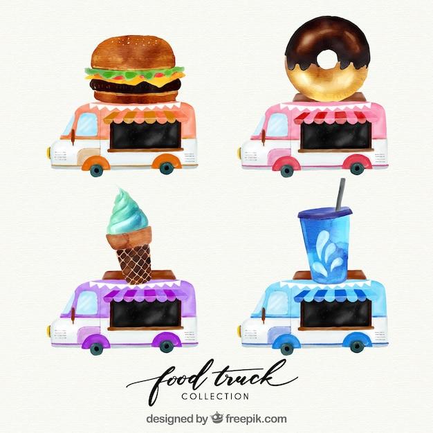 Colorful pack of watercolor food trucks