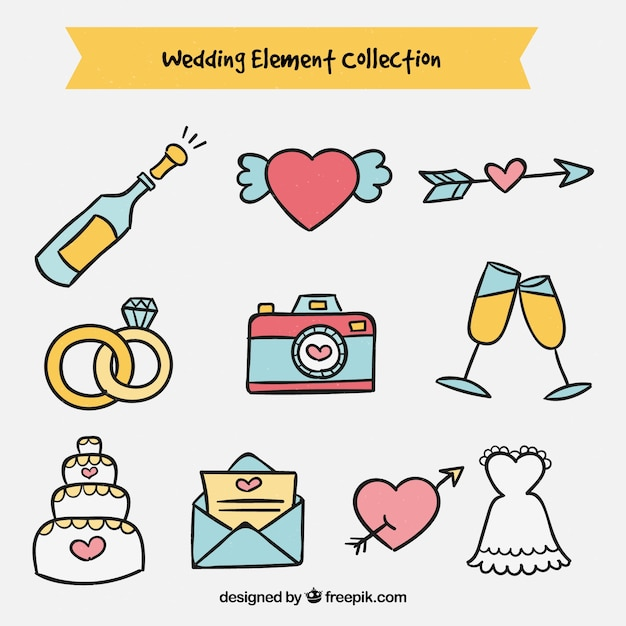 Colorful pack of wedding elements