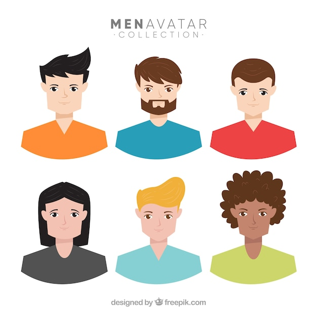 Colorful pack of young men avatars