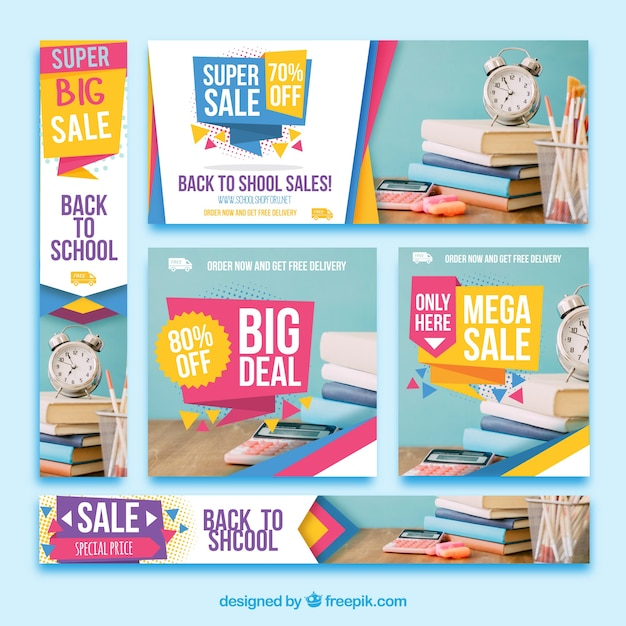 Colorful pack of sale banners Free Vector