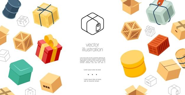 Концепция красочных упаковочных элементов Бесплатные векторы