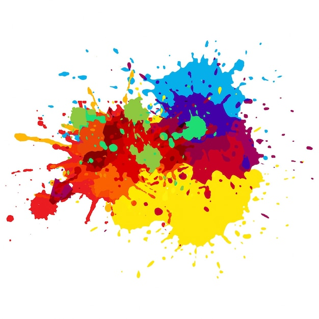 Colorful paint splashes Free Vector