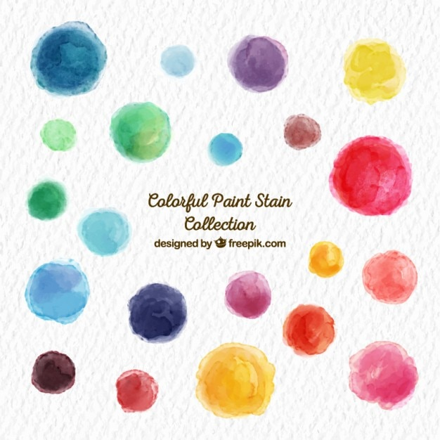 Colorful paint stain collection Free Vector
