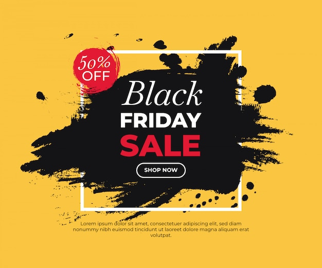 Colorful painted banner for black friday Free Vector