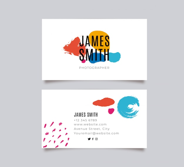 Colorful painted business card Free Vector