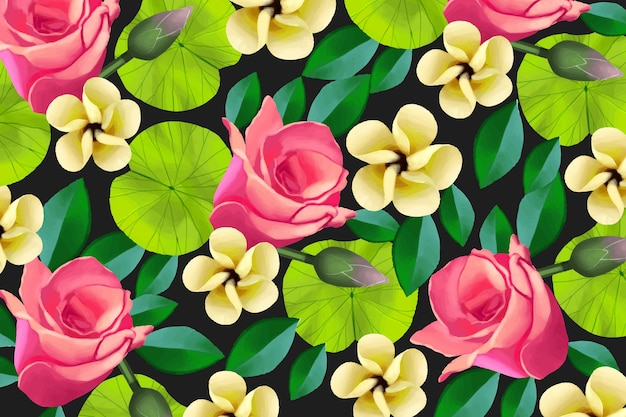 Colorful painted floral background Free Vector