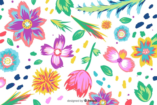Colorful painted flowers background Free Vector