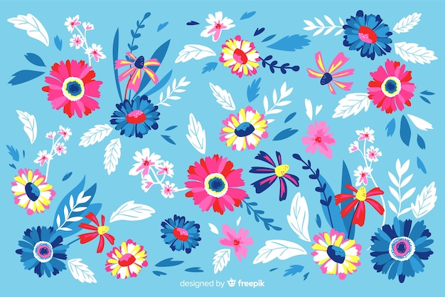 Colorful painted flowers decorative background Free Vector