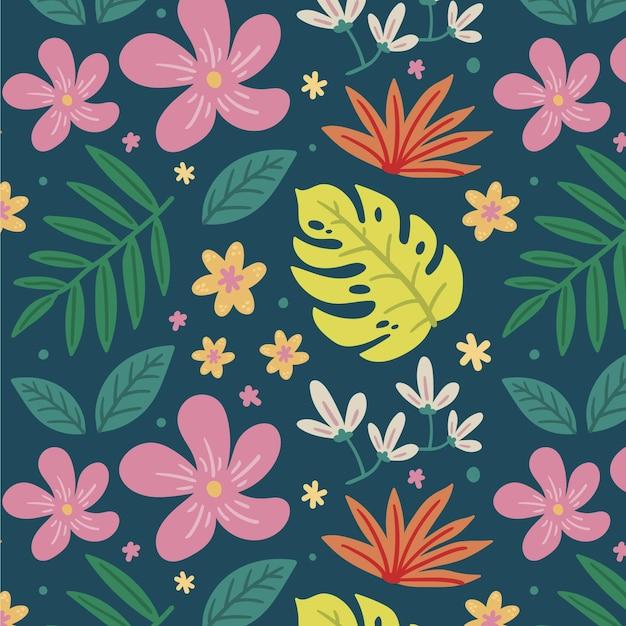カラフルに描かれた熱帯の花柄 無料ベクター