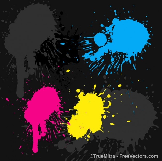 Colorful paints spots on black Free Vector