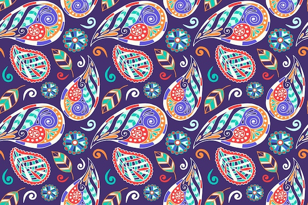 화려한 페이즐리 에스닉 패턴 디자인 프리미엄 벡터