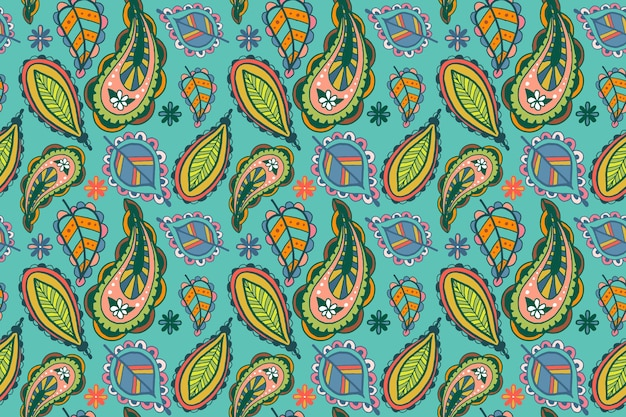 Colorful paisley ethnic pattern Premium Vector