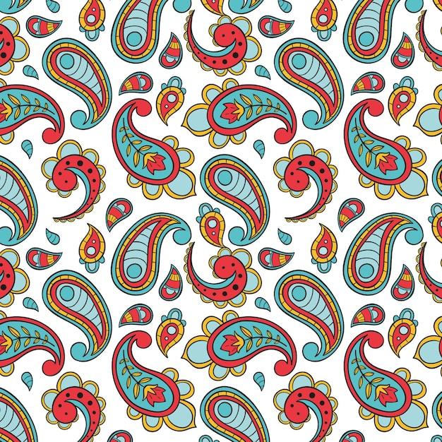Красочный узор пейсли Бесплатные векторы