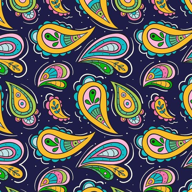 Motivo paisley colorato Vettore gratuito