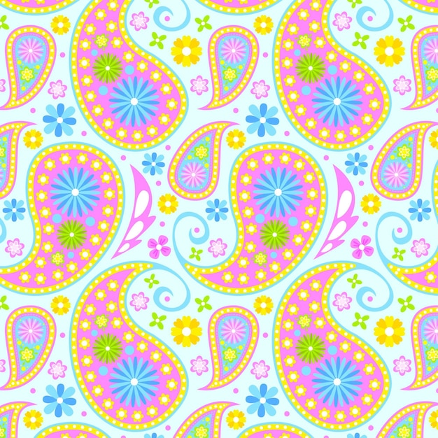 Colorful paisley pattern Free Vector