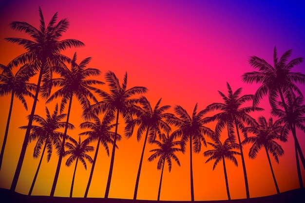 Colorful palm silhouettes background Free Vector