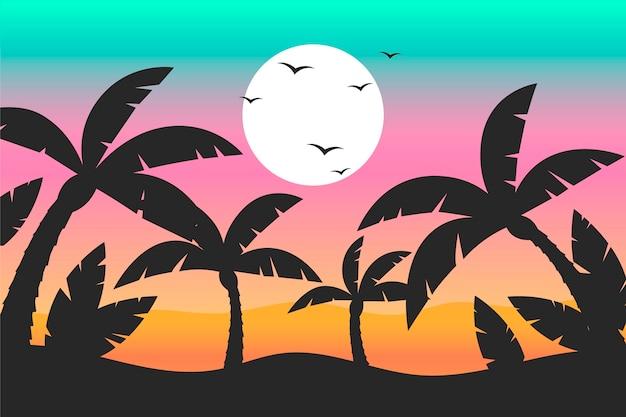 Красочные силуэты пальм Бесплатные векторы