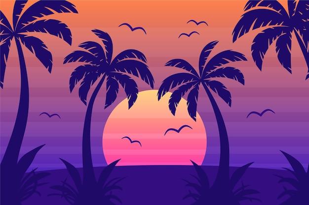 Красочные силуэты пальм обои Бесплатные векторы