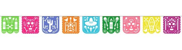 Dia De Los Muertos 휴일 축하를위한 다채로운 Papel Picado 화환 프리미엄 벡터