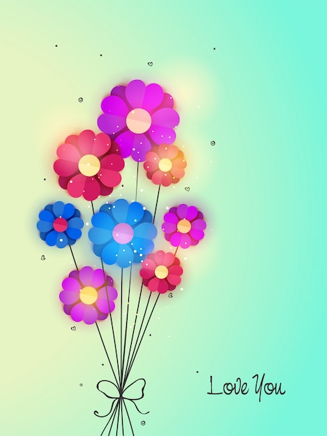 Colorful Paper Flowers In Heart Shape On Shiny Background Elegant