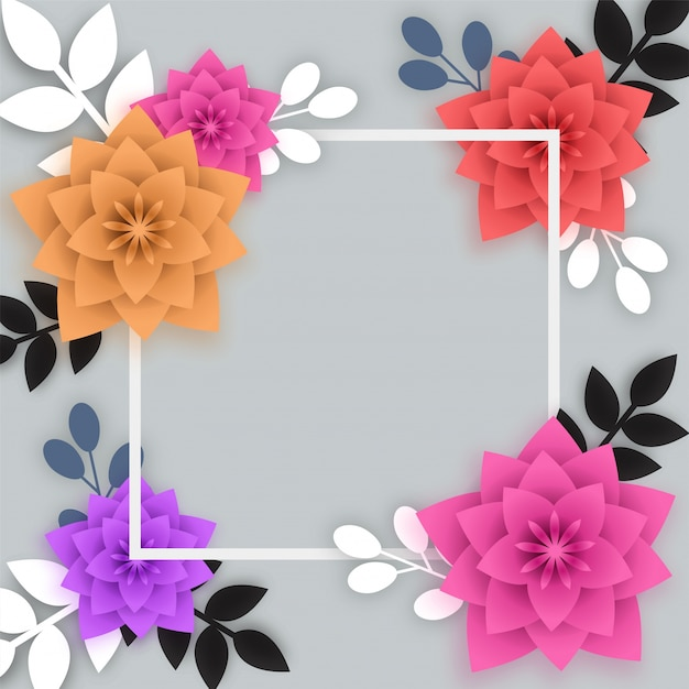 Colorful paper flowers with white square frame vector premium colorful paper flowers with white square frame premium vector mightylinksfo
