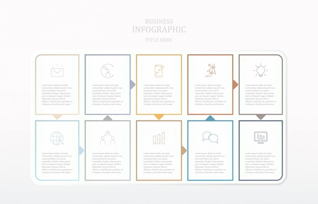 Colorful paper infographics process and icons. Premium Vector