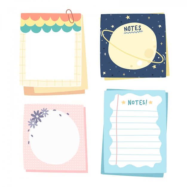 Colorful paper notes collection. Premium Vector