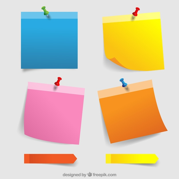 Colorful paper notes with thumbtacks Free Vector