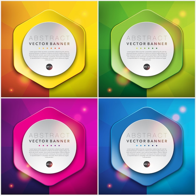 Colorful paper style banners. hexagonal web banners. Premium Vector