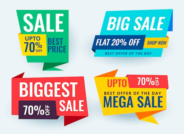 Colorful paper style origami sale banner set Free Vector