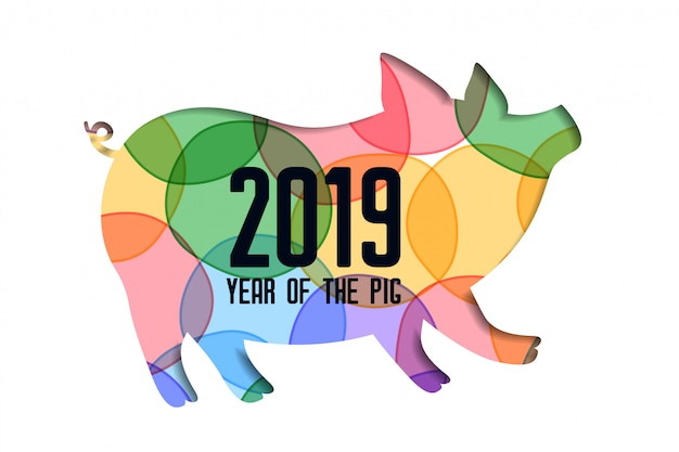 Colorful papercut pig for 2019 happy chinese new year Free Vector