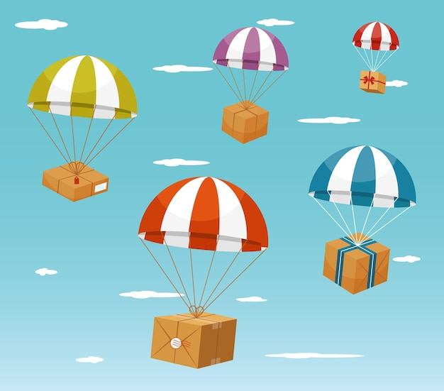 Colorful parachute carrying gift boxes on light blue sky background. Free Vector