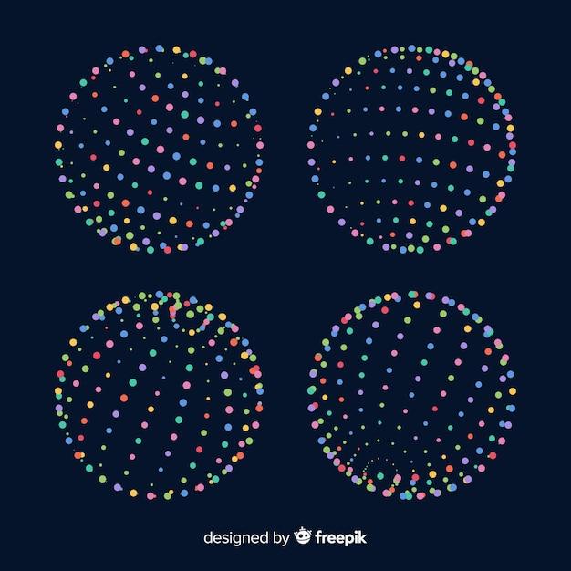 カラフルな粒子3d幾何学形状パック 無料ベクター