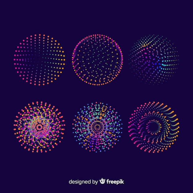 Colorful particle 3d geometric shapes set Free Vector