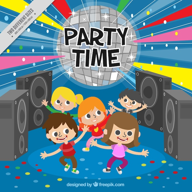 Colorful Party Background With Children Free Vector