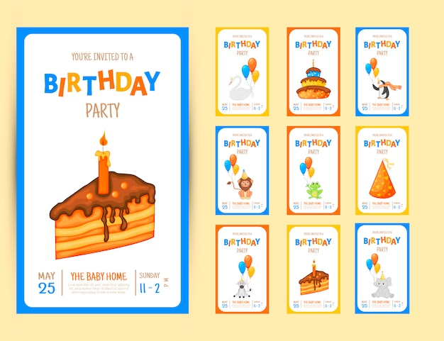 Colorful party invitation card with a cute animals and items on a white background Premium Vector
