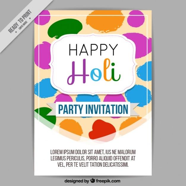 Colorful party invitation for holi festival vector free download colorful party invitation for holi festival free vector stopboris Image collections