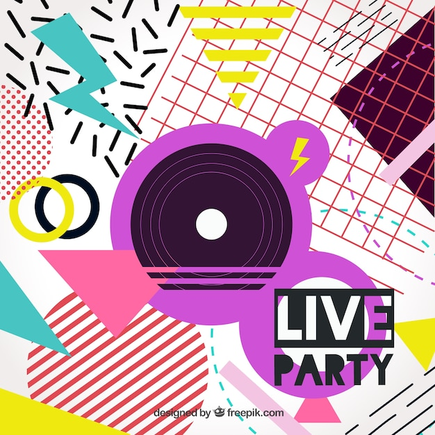Colorful party memphis background Vector | Free Download
