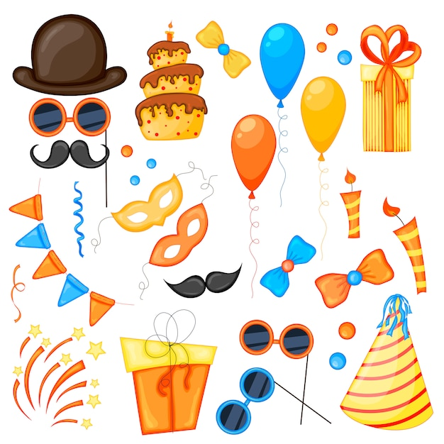 Colorful party set of items on a white background Premium Vector