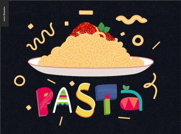 Colorful pasta plate Premium Vector