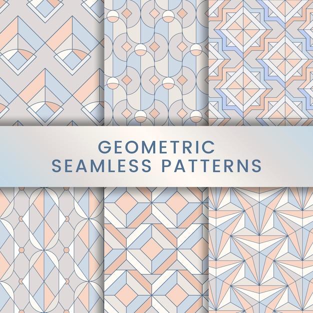 Colorful pastel geometric seamless patterns set Free Vector