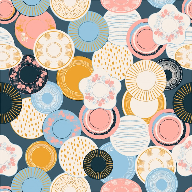 Colorful patel graphic hand drawn brush porcelain dishes seamless pattern illustration. Premium Vector