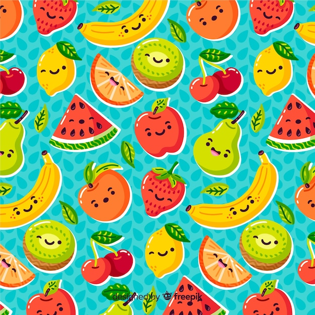 Colorful pattern background of fruit Free Vector