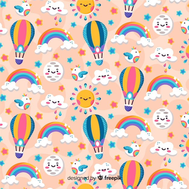 Colorful pattern background with rainbows Free Vector