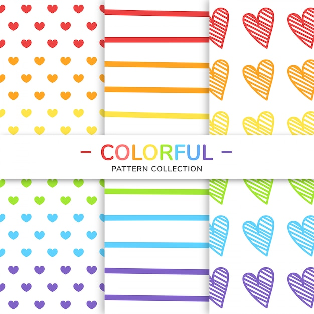 Colorful pattern collection. Premium Vector