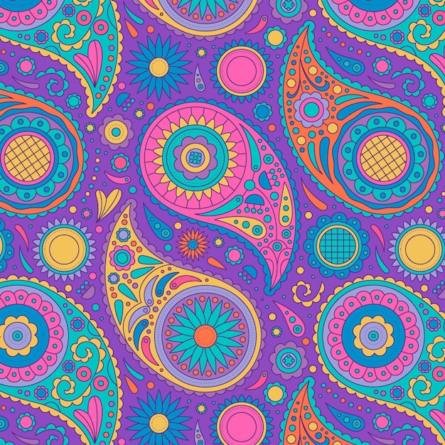 Colorful pattern in paisley style Free Vector