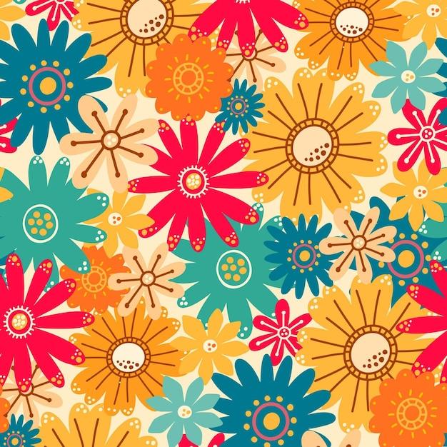 Красочный узор с разными красивыми цветами Бесплатные векторы