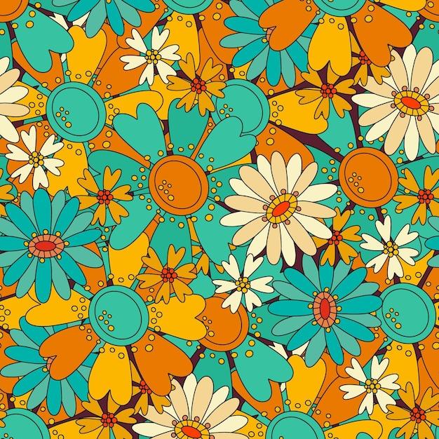 さまざまなかわいい花とカラフルなパターン 無料ベクター