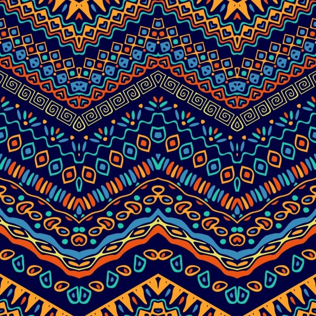 Colorful pattern with ethnic elements Free Vector